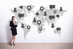 Глобальная социальная принципиальная схема средств Стоковое Изображение RF