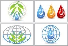 Глобальное Eco падает логотип Стоковые Изображения RF