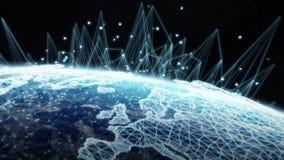 Глобальной вычислительной сети и обмен данными над землей 3D планеты разрывают Стоковые Фото