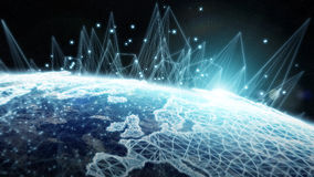 Глобальной вычислительной сети и обмен данными над землей 3D планеты разрывают Стоковые Изображения