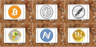 Глобальные значки cryptocurrency Стоковые Фото