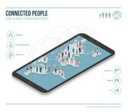 Глобальные связи infographic иллюстрация вектора