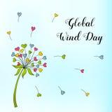 Глобальный день ветра 15-ое июня Иллюстрация вектора на праздник Стоковые Фото