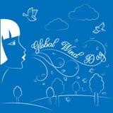 Глобальный день ветра 15-ое июня Иллюстрация вектора на праздник Стоковая Фотография