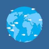 Глобальный поток Земля планеты под используемым изображением water апокалипсис бедствия Стоковые Фото
