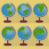 6 глобусов Стоковые Изображения