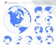 Глобусы показывая землю с всеми континентами Вектор глобуса мира цифров Поставленный точки вектор карты мира иллюстрация вектора