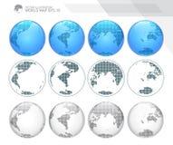 Глобусы показывая землю с всеми континентами Поставленный точки вектор глобуса мира бесплатная иллюстрация