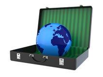 Глобус внутри чемодана 3D Стоковые Изображения RF