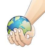 Глобус в руке Принципиальная схема дня земли Стоковое Изображение RF