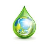 Глобус земли в зеленой изолированной капельке иллюстрация штока