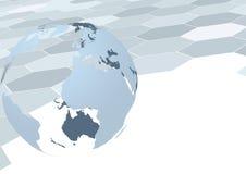 Глобус земли над геометрической предпосылкой Стоковая Фотография