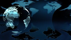 Глобус земли ночи на голубой предпосылке бесплатная иллюстрация