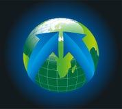 Глобус земли окруженный радиальным вектором стрелок Стоковая Фотография RF
