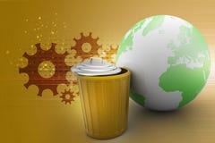 Глобус земли с мусорным баком бесплатная иллюстрация