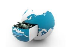 Глобус и деньги Стоковые Изображения