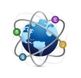Глобус и дизайн иллюстрации валюты Стоковые Изображения