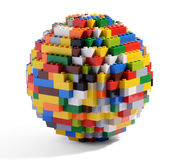 Глобус или сфера пестротканых блоков стоковая фотография rf