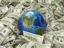 Глобус и 100 долларов Стоковые Изображения