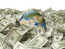 Глобус и 100 долларов Стоковое Изображение