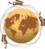 Глобус и самолеты Стоковое Изображение