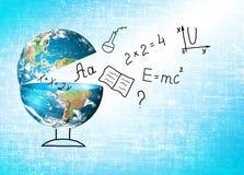 Глобус и символы школы принципиальная схема воспитательная Иллюстрация 3d воспитательной концепции задняя школа принципиальной сх Стоковые Фото