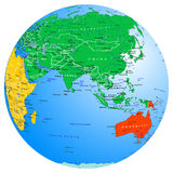 Глобус континентов и стран карты мира звезды планеты земли предпосылки полные восточно иллюстрация вектора
