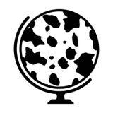 Глобус коровы Знак молока мира Иллюстрация вектора изолированная на белизне Стоковые Изображения RF