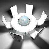 Глобус мира в центре  таблицы встречи Стоковое Изображение