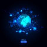 Глобус мира с значком app также вектор иллюстрации притяжки corel Стоковые Фото