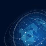 Глобус мира с концепцией соединений сети глобальной Стоковая Фотография RF