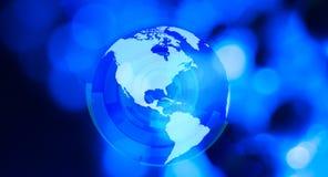 Глобус мира футуристической предпосылки синий Стоковое Изображение