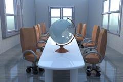 Глобус над таблицей в конференц-зале Стоковые Фотографии RF