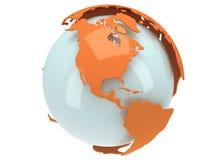 Глобус планеты земли. 3D представляют. Взгляд Америки. Стоковая Фотография RF