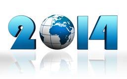 Глобус сини Нового Года 2014 Стоковые Изображения RF