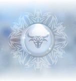Глобус снега вектора с Тавром знака зодиака иллюстрация вектора