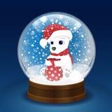 Глобус снега рождества с полярным медведем Стоковая Фотография RF