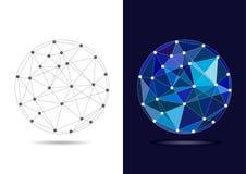 Глобус соединенный конспектом голубой - иллюстрация вектора Стоковые Изображения RF