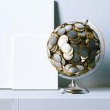 Глобус созданный монеток евро и насмешливого ясного плаката Стоковые Фотографии RF
