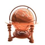Глобус старого стиля деревянный, изолированный над белизной Стоковая Фотография RF