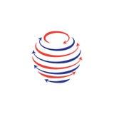 Глобус с круговыми линиями и стрелками иллюстрация вектора