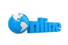 Глобус с онлайн текстом Стоковая Фотография