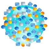 Глобус с пузырями речи и различными значками средств массовой информации Стоковая Фотография RF