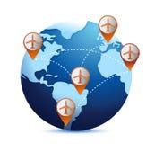 Глобус с самолетами и назначениями бесплатная иллюстрация