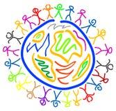 Глобус людей и мира Стоковое фото RF