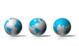 глобус 3D показывая землю при все континенты, изолированные на белой предпосылке Стоковые Фотографии RF