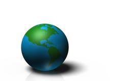 глобус 3D показывая землю при континенты, изолированные на белой предпосылке Стоковое Изображение