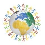 глобус 3D с взглядом на Америке при вычерченные люди держа руки Концепция для приятельства, глобализации, сообщения иллюстрация штока