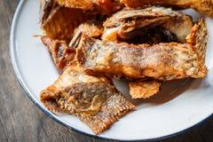 Глубокие зажаренные рыбы тилапии с солью, взгляд сверху Стоковое Фото