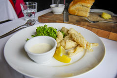 Глубокий зажаренный calamari с соусом тартара, и хлебец cobb Стоковые Изображения